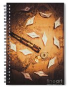 Maritime Origami Ships On Antique Map Spiral Notebook