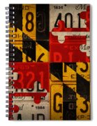 Maryland State Flag Recycled Vintage License Plate Art Spiral Notebook