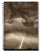May Showers - Lightning Thunderstorm Sepia Hdr Spiral Notebook