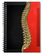 Memento Mori - Gold Human Backbone Over Black And Red Canvas Spiral Notebook