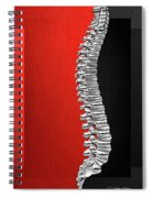 Memento Mori - Silver Human Backbone Over Red And Black Canvas Spiral Notebook