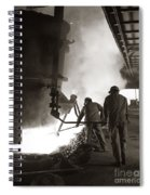 Men Working Blast Furnace At Steel Spiral Notebook