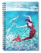 Mermaid Red Spiral Notebook