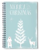 White Christmas Bear And Stag Spiral Notebook