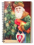 Merry Christmas Santa Delivers Gifts Vintage Card Spiral Notebook