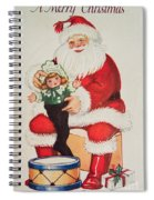 Merry Christmas Santa Pulls Doll From His Sack Vintage Card Spiral Notebook