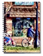 Metuchen Nj - Bicyclists On Main Street Spiral Notebook