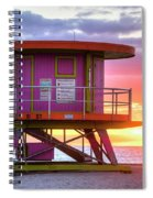Miami Beach Round Life Guard House Sunrise Spiral Notebook