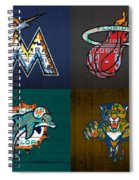 Miami Sports Fan Recycled Vintage Florida License Plate Art Marlins Heat Dolphins Panthers Spiral Notebook