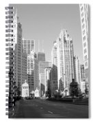 Michigan Ave Wide B-w Spiral Notebook