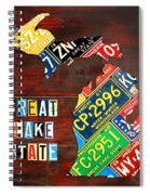 Michigan License Plate Map Spiral Notebook