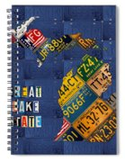 Michigan License Plate Map Great Lake State With Vintage Blue Plate Background Edition Spiral Notebook