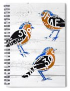 Michigan Robins State Bird Recycled Vintage License Plate Art On White Barn Wood Spiral Notebook