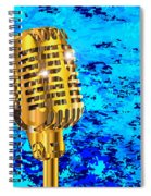 Microphone On Blues Fire Spiral Notebook