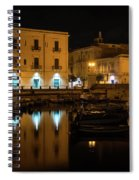 Midnight Silence And Solitude - Syracuse Sicily Illuminated Waterfront Spiral Notebook