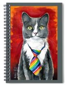 Mika - Gray Tuxedo Cat Painting Spiral Notebook