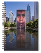 Millennium Park Fountain And Chicago Skyline Spiral Notebook