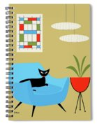 Mini Abstract With Turquoise Chair Spiral Notebook