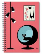 Shower Curtain Mini Atomic Cat On Pink  Spiral Notebook