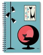 Mini Atomic Cat On Turquoise Spiral Notebook