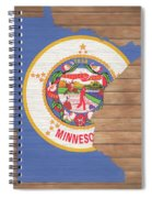Minnesota Rustic Map On Wood Spiral Notebook