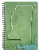 Mississippi State Usa 3d Render Topographic Map Border Spiral Notebook