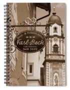 Mittenwald Cafe Sign In Sepia Spiral Notebook