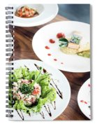 Mixed Modern Gourmet Fusion Food Dishes On Table Spiral Notebook