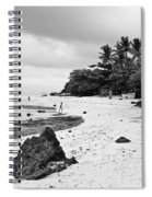Moalboal Cebu White Sand Beach In Black And White Spiral Notebook