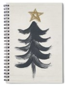 Modern Primitive Black And Gold Tree 1- Art By Linda Woods Spiral Notebook