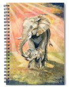 Mom And Baby Elephant Spiral Notebook