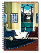 Mom And Daughter Sitting In Chairs With Sphynxes Spiral Notebook