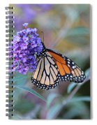 Monarch Butterfly And Purple Flowers Spiral Notebook