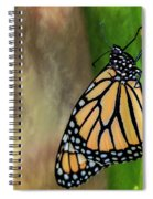 Monarch Butterfly Poised On Green Stem Spiral Notebook