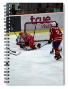 Mongolia Team Players Defend Goal Vs Malaysia In Ice Hockey Match In Rink Bangkok Thailand Spiral Notebook