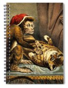 Monkey Physician Examining Cat For Fleas Spiral Notebook