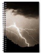 Mono Tone Lightning Striking The Ridge Spiral Notebook