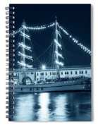 Monochrome Blue Boston Tall Ships At Night Boston Ma Spiral Notebook