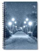 Monochrome Blue Nights Boston Public Garden Snow Storm Ma Massachusetts Bridge Lights Spiral Notebook