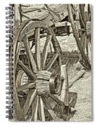 Montana Old Wagon Wheels In Sepia Spiral Notebook