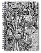 Montana Old Wagon Wheels Monochrome Spiral Notebook