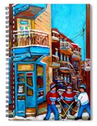 Montreal City Scene Hockey At Wilenskys Spiral Notebook