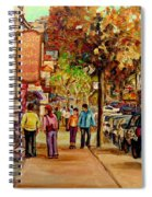 Montreal Downtown  Crescent Street Couples Walking Near Cafes And Rstaurants City Scenes Art    Spiral Notebook