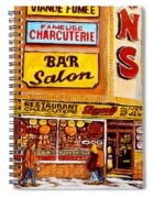 Montreal Paintings Dunns Restaurant Streets Of Montreal Spiral Notebook
