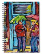 Montreal Rainy Day Paintings April Showers Umbrella Conversation At Wilensky's Deli C Spandau Quebec Spiral Notebook