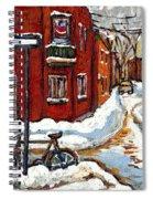 Montreal Street In Winter La Ville En Hiver Buy Montreal Paintings Petits Formats Peintures A Vendre Spiral Notebook