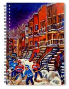 Montreal Street Scene Paintings Hockey On De Bullion Street   Spiral Notebook