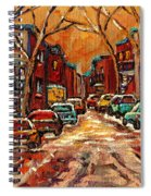 Montreal Streets In Winter Spiral Notebook
