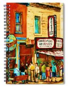 Montreal Streetscene Artist Carole Spandau Paints Schwartzs Main Street Hustle Bustle Spiral Notebook