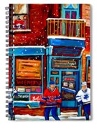 Montreal Wilensky Deli By Carole Spandau Montreal Streetscene And Hockey Artist Spiral Notebook